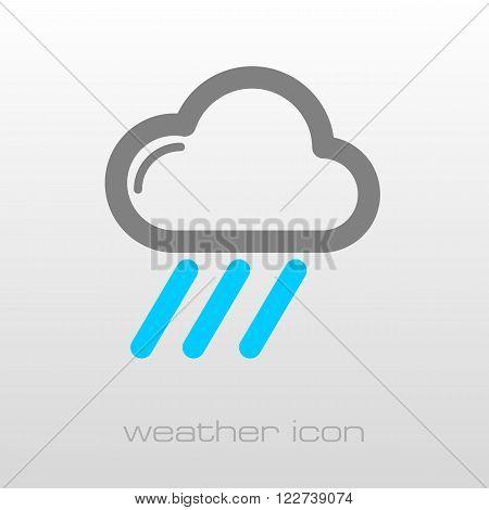 RRain Cloud outline icon. Downpour rainfall. Weather. Vector illustration eps 10
