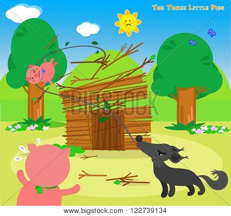 The three little pigs, wolf destroys the sticks house