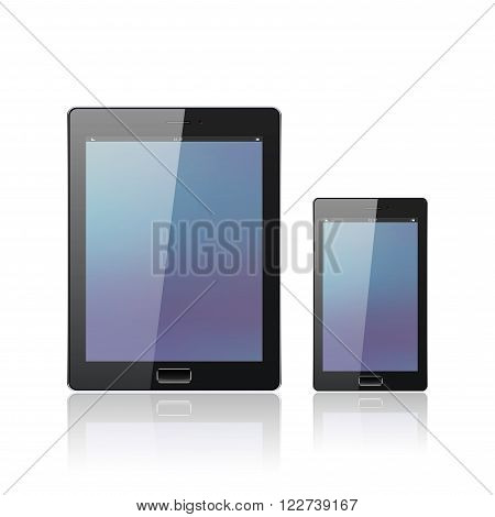 Modern digital tablet PC with mobile smartphone isolated on the white. Science and tecnology concept. Vector Illustration.