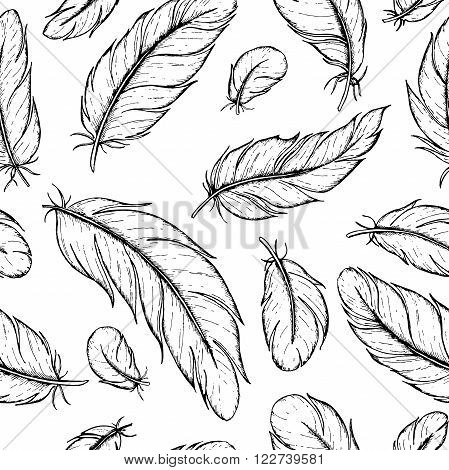 Vector seamless pattern of hand drawn feather. Ink feather vintage illustration. Detailed drawing in boho style. Great for rustic wedding decor.
