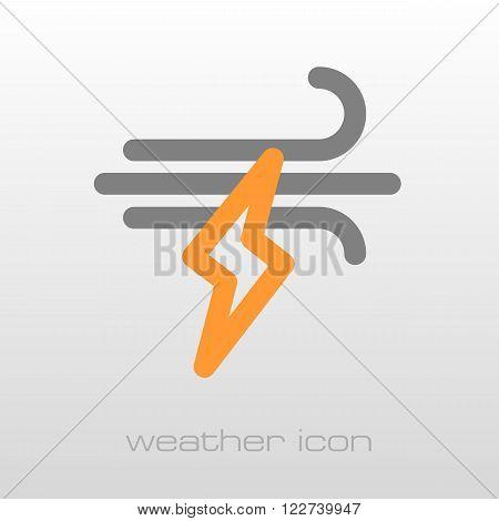 Wind Lightning outline icon. Meteorology. Weather. Vector illustration eps 10
