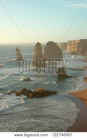 Beautiful View of Twelve Apostles in the Evening, Australia ** Note: Soft Focus at 100%, best at smaller sizes