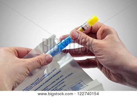 Rome Italy - April 27 2012: A traffic police operator shows the proper kit to determine the blood alcohol of the drivers stopped during road checks.