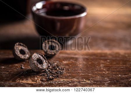 Pressed black pu-erh tea with space for text