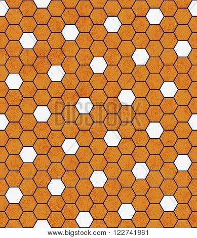 Orange, Black and White Hexagon  Abstract Geometric Design Tile Pattern Repeat Background that is seamless and repeats