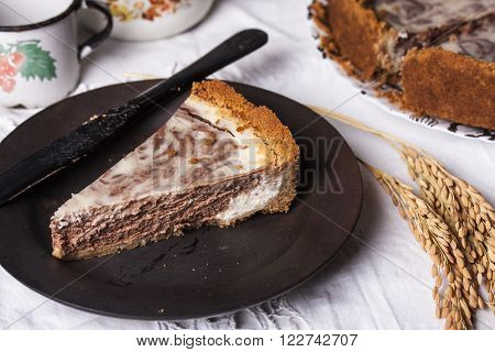 marble cheesecake with cream cheese and chocolate in a rustic style ** Note: Visible grain at 100%, best at smaller sizes