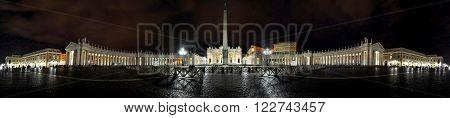 Panorama of Saint Peter square at night. Piazza San Pietro Vatican city