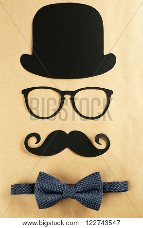 Photo booth props glasses, mustache, bow tie and bowler