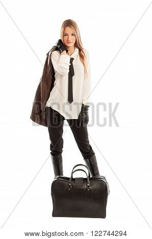 Cute Fashionable Female Model Holding Brown Leather Jacket