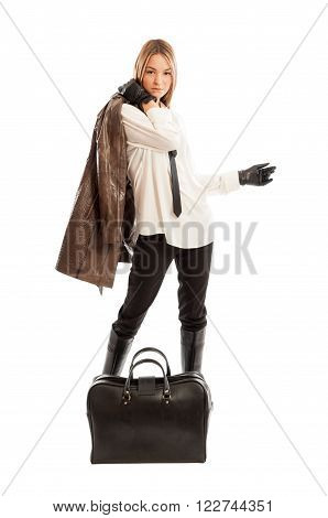 Young Fashionable Female Model Holding Brown Leather Jacket