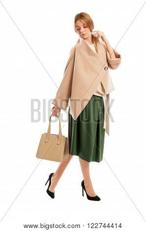 Female Fashion Model Walking And Posing
