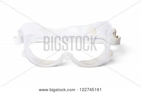 Safety glasses isolated on white background, closeup
