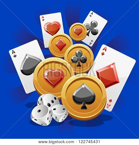 illustration of Poker Cards dice and Coins in vector
