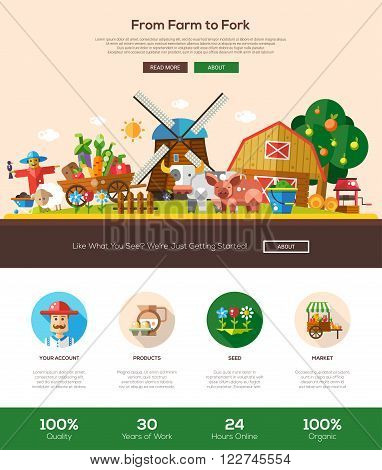 From farm to fork web site one page website template layout with thin line design header, banner, icons and other flat design web elements