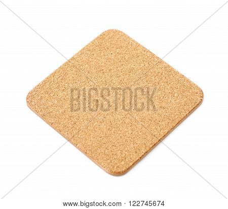 Square cork textured coaster for the drinks, composition isolated over the white background