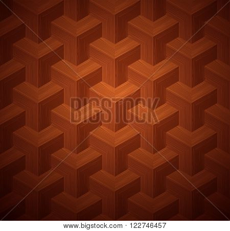 Dark parquet 3d seamless floor texture. Editable vector pattern in swatches.
