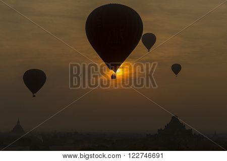 Balloons On sunrise of bagan city Myanmar