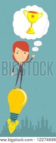 Business woman taking off on the light bulb, as the idea, vector illustration
