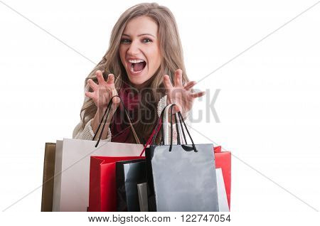 Shopping Girl Acting Like A Cat