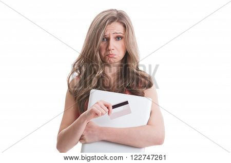 Sad Female Holding Empty Credit Card