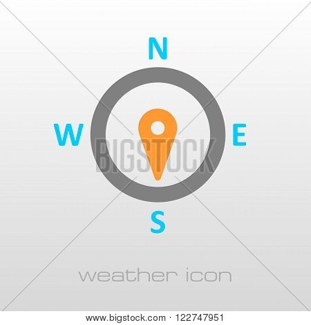 Compass wind rose outline icon. Direction south. Meteorology. Weather. Vector illustration eps 10