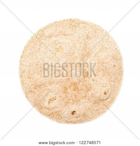 Single wheat tortilla bread isolated over the white background