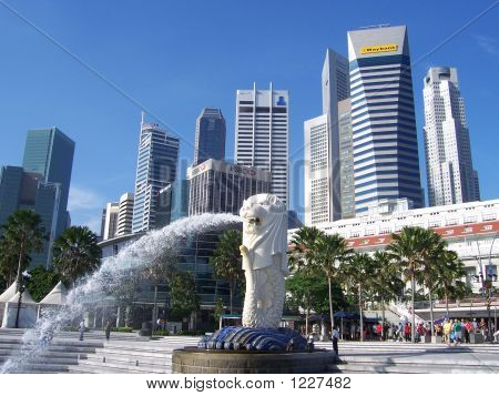 Singapore Merlion Picture Symbol on Singapore Landscape With Merlion Stock Photo   1227482   Bigstock