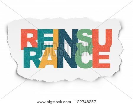 Insurance concept: Reinsurance on Torn Paper background