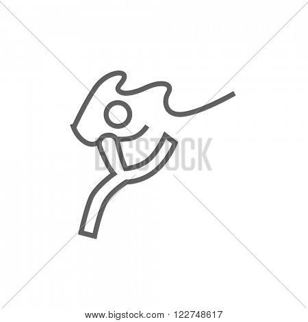Gymnast with tape line icon.