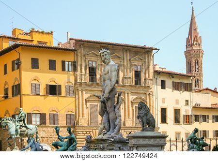 Hercules statue in fountain of Neptune Florence Itlay