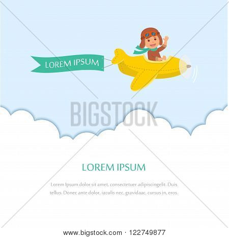 Kid flying on a plane with a ribbon for a message. Design template for greeting card or poster. Congratulations to the newborn.