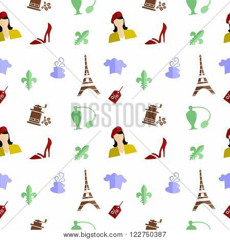 seamless background on the theme of French culture.