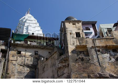 High angle view of Onkareshwar Jyothiling Temple at Onkareshwar, Madhya Pradesh, India, Asia