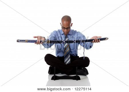 Young Handsome African American Businessman, Sword