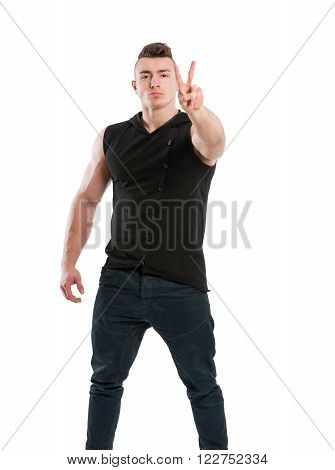 Young Male Stud Showing Peace Sign