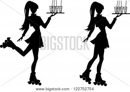 Silhouette of waiter girl in shirt skirt and jacket with a tray on roller-skates