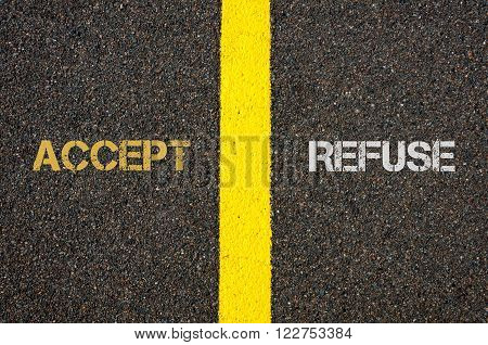 Antonym Concept Of Accept Versus Refuse