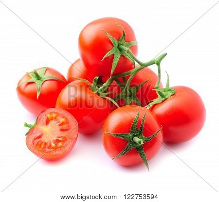 Ripe tomato closeup isolated on white backgrounds