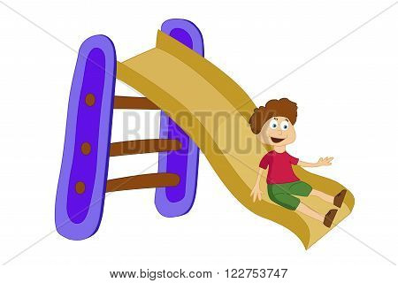 vector illustration of a boy sliding down the slide