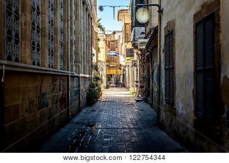 NICOSIA CYPRUS - DECEMBER 3: View of Ledra Street from Socrates Street in central Nicosia on December 3 2015.