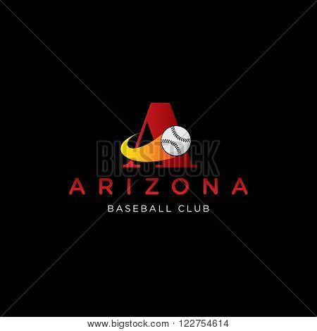letter A vector template for using as baseball club logo