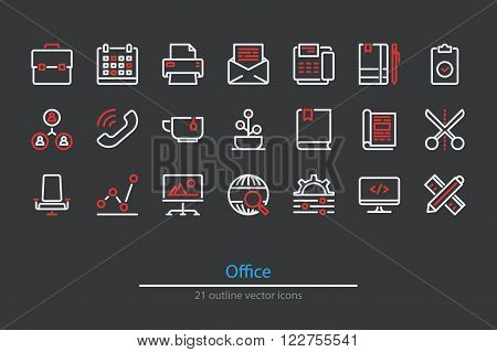 Outline office icons. Line art. Stock vector