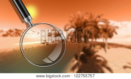 Oasis in the desert with magnifying glass and sun- 3d rendering