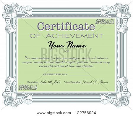 Isolated certificate with the text certificate of achievement written with various letters. Certificate sample