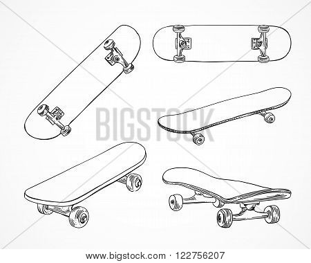 Skateboarding vector illustration. Hand sketched skateboards. Skating sport