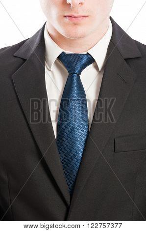 Buisness man tie white collar and black suit closeup concept