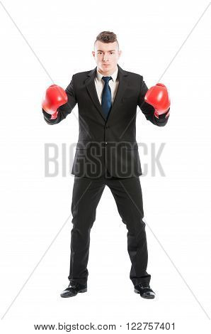 Business man ready to fight wearing suit tie and red boxing gloves