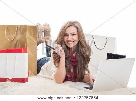 Happy And Satisfied Shopping Woman