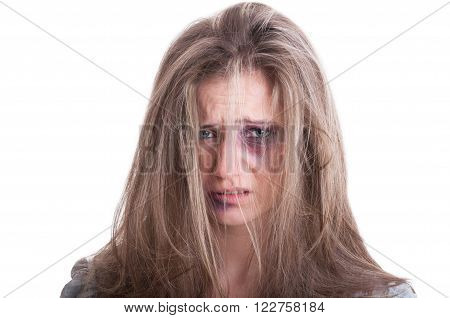 Portrait Of An Abused Woman Victim Of Domestic Violence