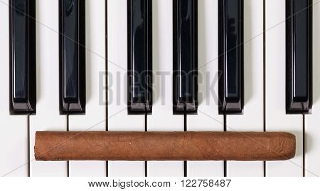 Detail of piano keyboard and luxury cigar